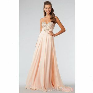 Jovani Peach Jeweled Sweetheart Strapless Gown